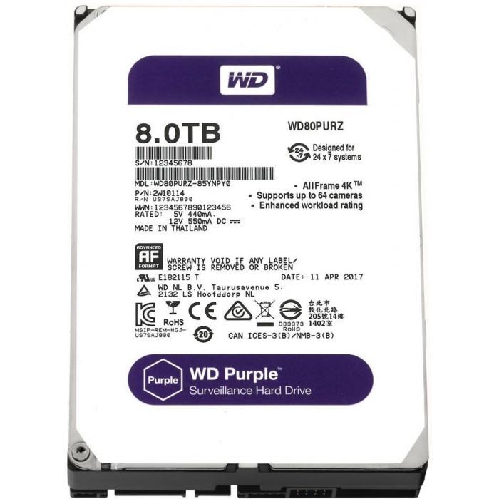 WD Purple 8TB Surveillance Hard Disk WD80PURZ image